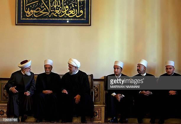 Lebanese Muslim Sunni Mufti Mohammed Rashid Qabbani Druze Mufti Naim Hassan Shiite Mufti Abdel Amir Qabalan and unidentified Druz clerics hold talks...