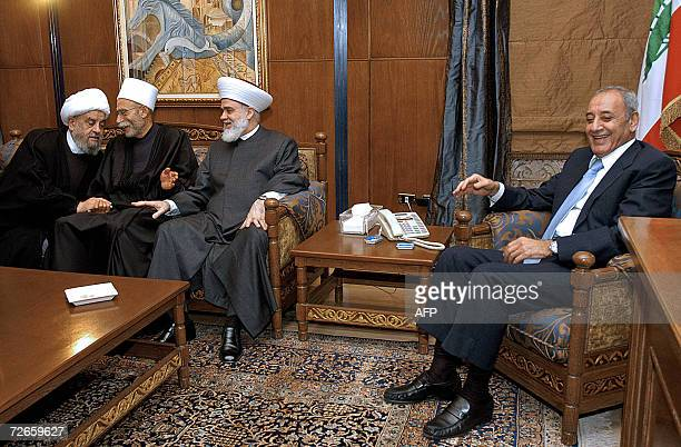 Lebanon's Parliament Speaker Nabih Berri smiles during a meeting with Muslim Shiite Mufti Abdel Amir Qabalan Druze Mufti Naim Hussein and Sunni...