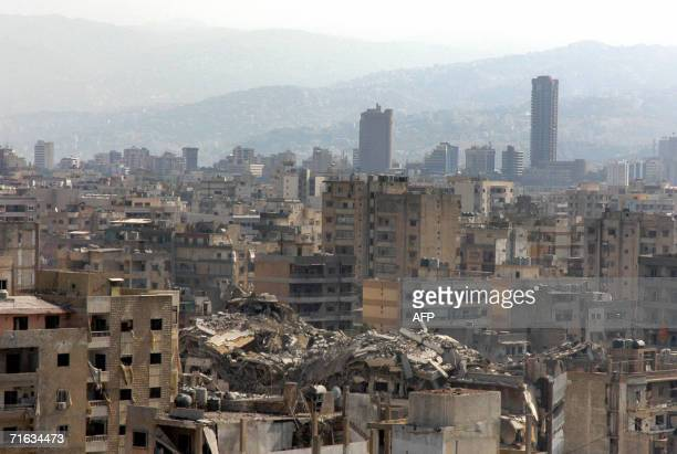 Picture taken 12 August 2006 shows buildings destroyed by Israeli bombardment in the southern suburbs of Beirut a stronghold of Hezbollah Israeli...