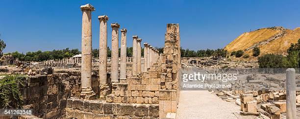 beit she'an national park (scythopolis), the roman portico (later silvanus hall) and silvanus street - größere sehenswürdigkeit stock-fotos und bilder