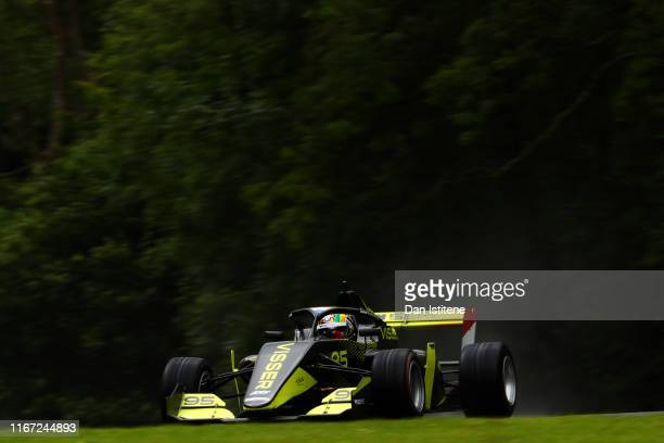 Beitske Visser of Netherlands drives a Tatuus F3 T-318 during practice for the sixth and final round of the W Series at Brands Hatch on August 10,...