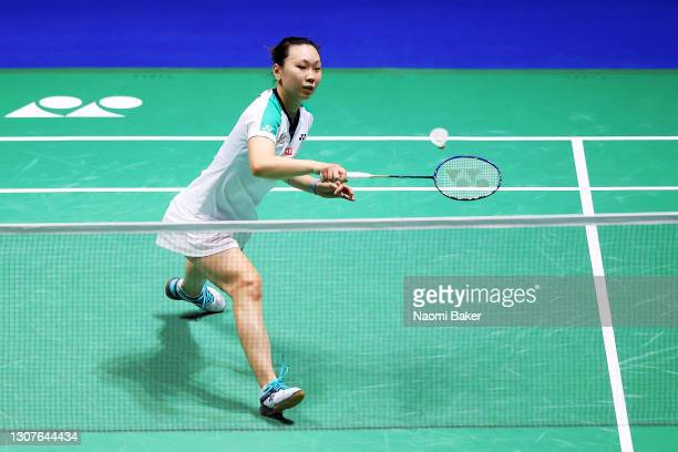 Beiwen Zhang of the USA in action during her first round match against Jordan Hart of Wales during day one of YONEX All England Open Badminton...