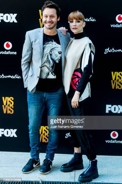 Bejamin Vicuna and Najwa Nimri attends 'Vis A Vis' photocall at Santo Mauro Hotel on November 29 2018 in Madrid Spain