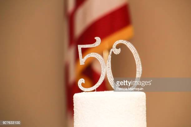 """a bejeweled """"50"""" cake topper - number 50 stock photos and pictures"""