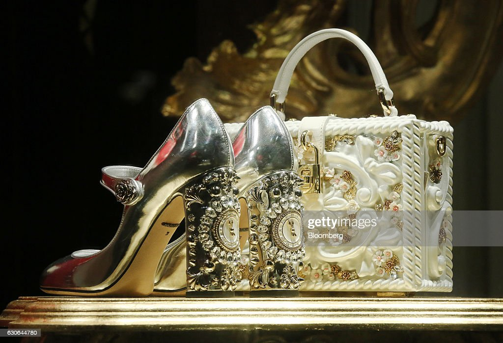 Bejeweled shoes and handbag sit on display in the Dolce & Gabbana Srl (D&G) fashion store in Moscow, Russia, on Wednesday, Dec. 28, 2016. President-elect Donald Trump said Wednesday that the U.S. should move on rather than retaliate against Russia for interfering in the 2016 election, with the Obama administration expected to soon take action against Moscow. Photographer: Andrey Rudakov/Bloomberg via Getty Images