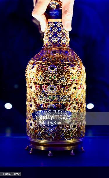 A bejewelled Chivas 18 bottle designed by jeweller Siddharth Kasliwal for three months to evoke the sense of deja vu at an estimated value of $50000...