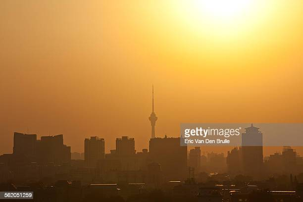 bejing, china in yellow haze - eric van den brulle stock pictures, royalty-free photos & images