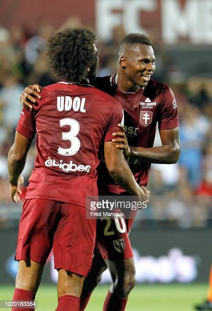 Bekanty victorien Angban of Metz and Habib Diallo of Metz celebrate scoring his goal during the French Ligue 2 match between FC Metz and AC Ajaccio...