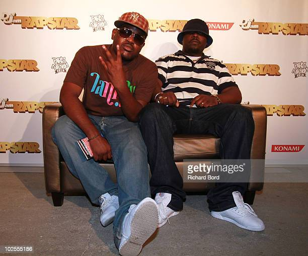 Bek'Soul and TKilla of KOmmando Toxik pose during the Def Jam Rapstar Video Game Launch at Palais De Tokyo on June 30 2010 in Paris France