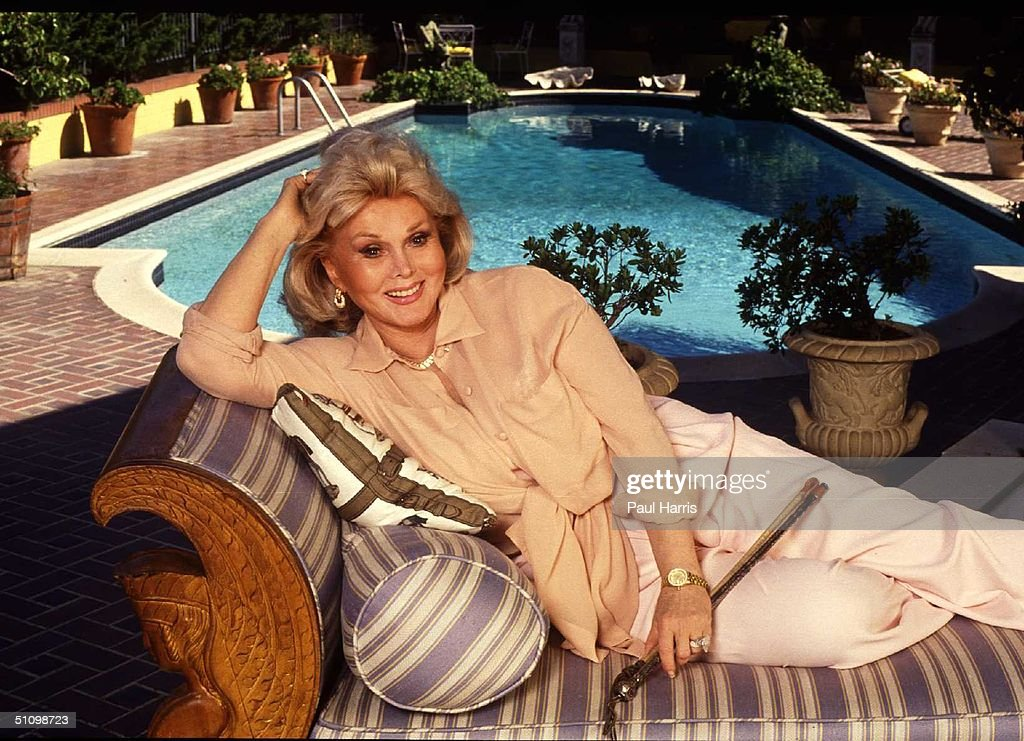 1992. Bel Air. Zsa Zsa Gabor Poolside In Her Bel Air Mansion.