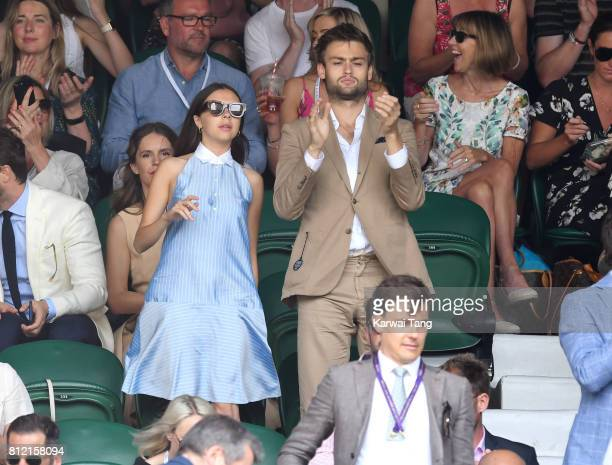 Bel Powley and Douglas Booth attend day seven of the Wimbledon Tennis Championships at the All England Lawn Tennis and Croquet Club on July 10 2017...