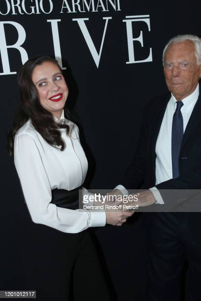 Bel Powley and Giorgio Armani pose after the Giorgio Armani Prive Haute Couture Spring/Summer 2020 show as part of Paris Fashion Week on January 21...