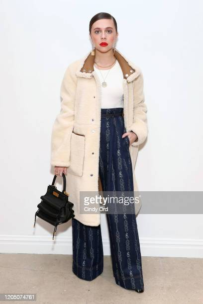 Bel Powley attends the Tory Burch Fall Winter 2020 Fashion Show at Sotheby's on February 09, 2020 in New York City.