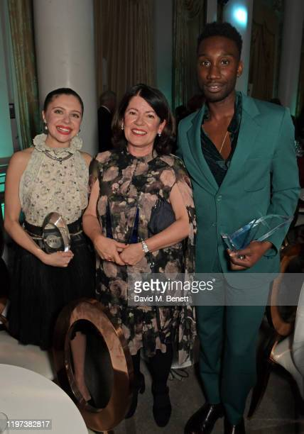 Bel Powley, Dame Pippa Harris and Nathan Stewart-Jarrett attend the Newport Beach Film Festival 6th Annual UK Honours at The Langham Hotel on January...