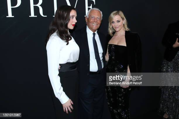 Bel Powley, Giorgio Armani and Reese Witherspoon pose after the Giorgio Armani Prive Haute Couture Spring/Summer 2020 show as part of Paris Fashion...