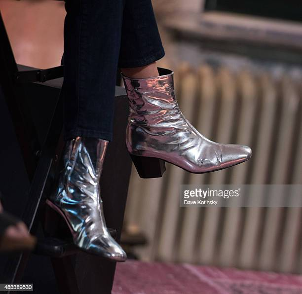 Bel Powley shoe detail speaks at AOL BUILD Speaker Series Presents The Diary Of A Teenage Girl at AOL Studios In New York on August 7 2015 in New...