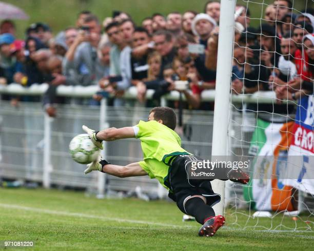 Bela Fejer Csongor of Karpatalya save a penalty during Conifa Paddy Power World Football Cup 2018 Grand Final between Northern Cyprus against...
