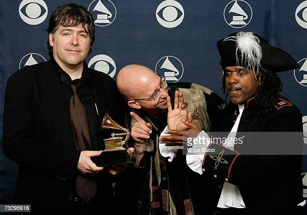Bela Fleck and Flecktones pose with their Grammy for Best Contemporary Jazz Album in the press room at the 49th Annual Grammy Awards at the Staples...