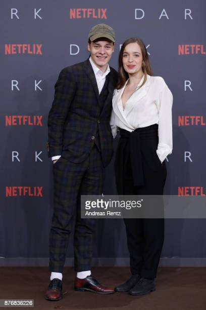 Bela Gabor Lenz and Nellie Thalbach attend the premiere of the first German Netflix series 'Dark' at Zoo Palast on November 20 2017 in Berlin Germany