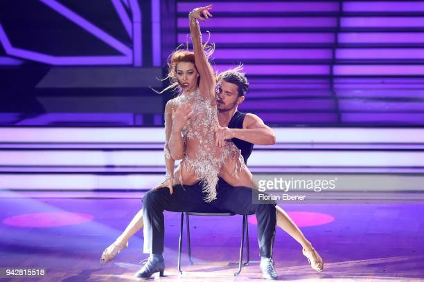 Bela Klentze and Oana Nechit perform on stage during the 3rd show of the 11th season of the television competition 'Let's Dance' on April 6 2018 in...