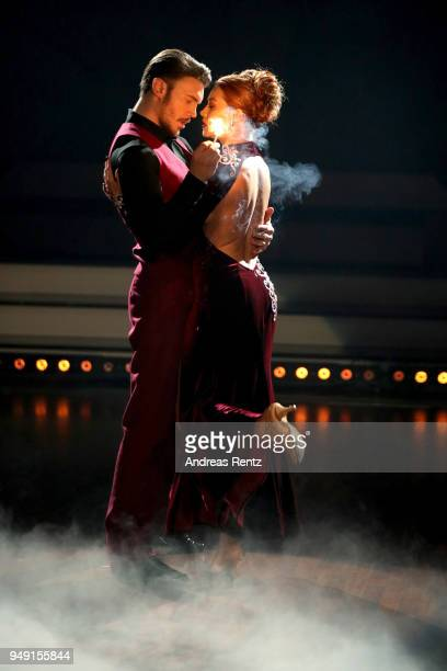 Bela Klentze and Oana Nechiti perform on stage during the 5th show of the 11th season of the television competition 'Let's Dance' on April 20 2018 in...