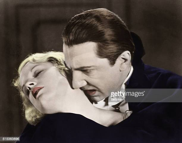 Bela Lugosi as Dracula about to claim a beautiful victim in a scene from the famous movie
