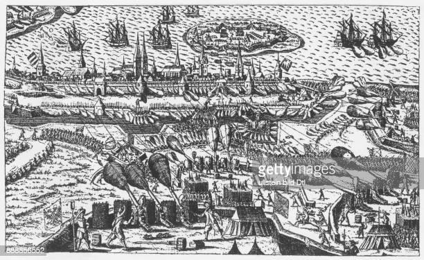 Belagerung von Stralsund durch die Katholische Liga unter Albrecht Wenzel von Wallenstein zeitgenössischer Kupferstich