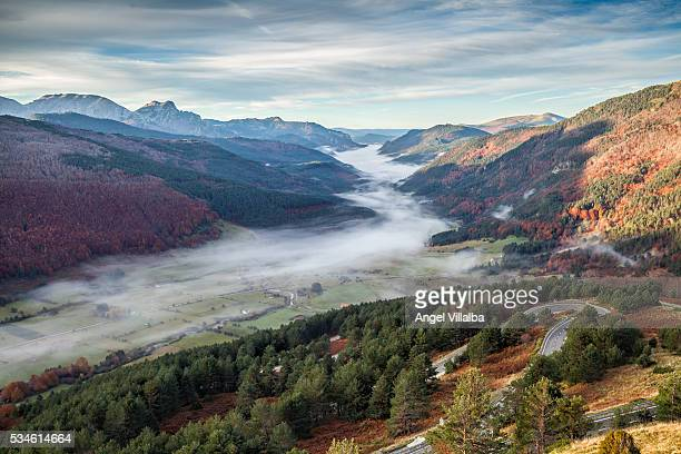 belagua valley fog - comunidad foral de navarra fotografías e imágenes de stock