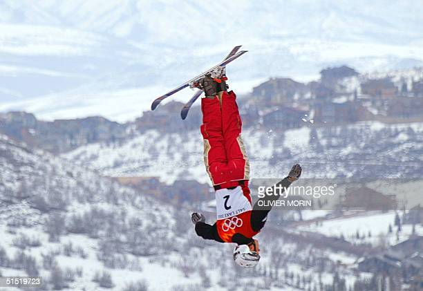 Belarus Alexei Grichin performs his jump during the men's Aerials final for the Winter Olympics 19 February 2002 at Deer Valley Resort AFP...