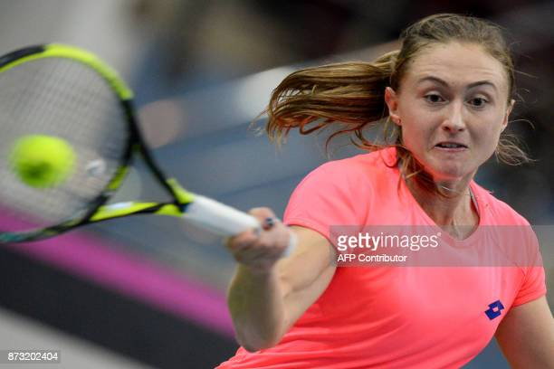 Belarus' Aliaksandra Sasnovich returns the ball to USA's Sloane Stephens on November 12 2017 in Minsk during their Fed Cup final tennis match between...