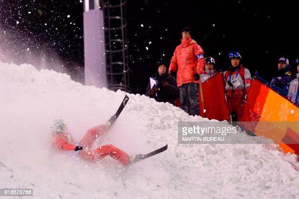 TOPSHOT Belarus' Alla Tsuper competes in the women's aerials qualification event during the Pyeongchang 2018 Winter Olympic Games at the Phoenix Park...
