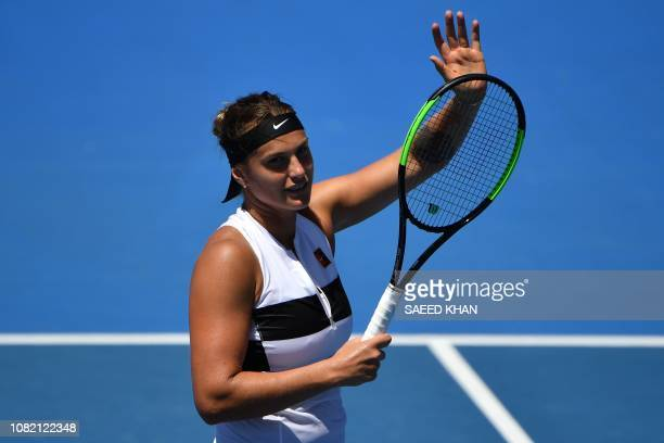 Belarus' Aryna Sabalenka celebrates her victory against Russia's Anna Kalinskaya during their women's singles match on day one of the Australian Open...