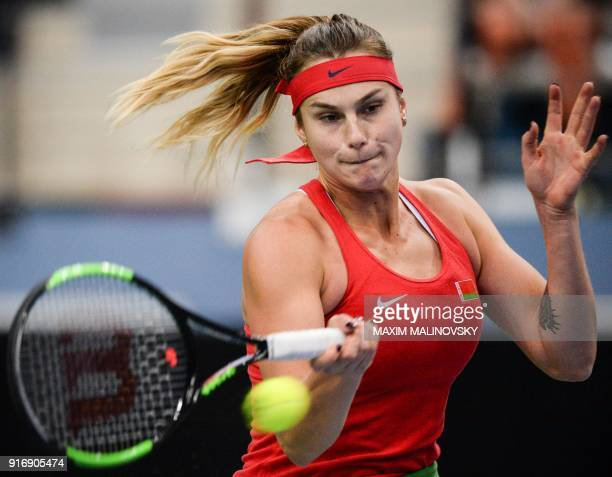 Belarus' Aryna Sabalenka hits a return to Germany's Antonia Lottner during the Fed Cup tennis world group first round match between Belarus and...