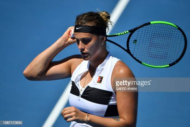 Belarus' Aryna Sabalenka reacts after a point against Russia's Anna Kalinskaya during their women's singles match on day one of the Australian Open...