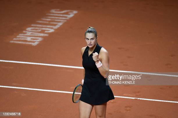 Belarus' Aryna Sabalenka reacts during the single match against Germany's Anna-Lena Friedsam on day 4 of the Women's Tennis Grand Prix WTA 500...