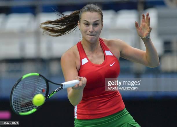 Belarus Aryna Sabalenka return a ball to Dutch Kiki Bertens during the Fed Cup World Group first round tennis match between Belarus and Netherlands...
