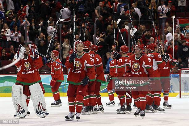 Belarus celebrates their 53 victory against Germany during the ice hockey men's preliminary game on day 9 of the Vancouver 2010 Winter Olympics at...
