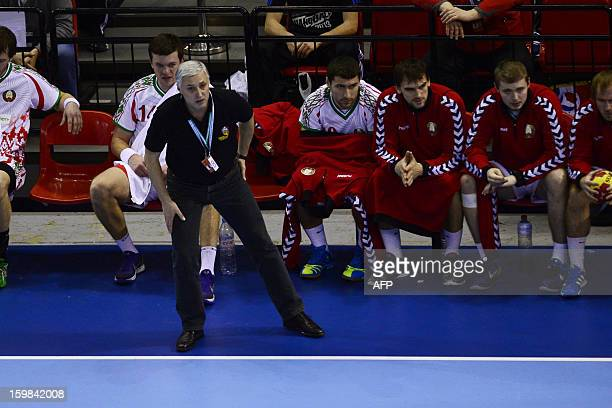 Belarus' coach Iouri Chevtsov looks on during the 23rd Men's Handball World Championships round of 16 match Croatia vs Belarus at the Pabellon...