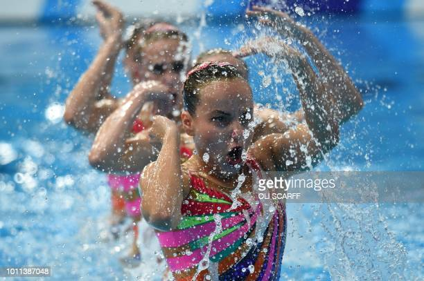 TOPSHOT Belarus compete in the combination free routine final at the Scotstoun Sports Campus during the 2018 European Championships in Glasgow on...