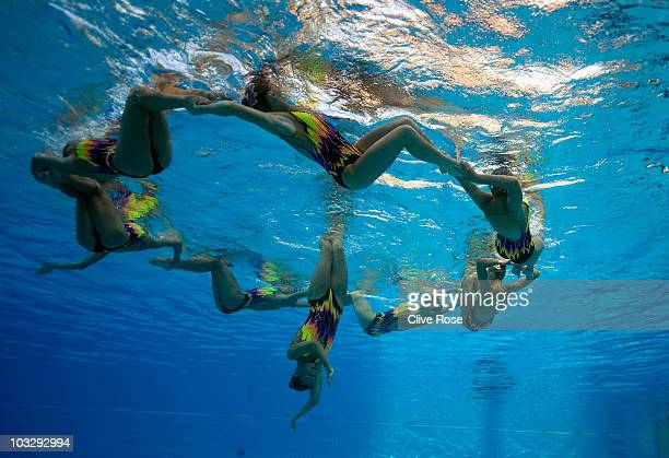 Belarus competes during the synchronised swimming free combination final at the European Swimming Championships at the Hajos Alfred Swimming complex...
