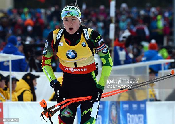 Belarus' Darya Domracheva competes in the women's 125 km mass start event of the Biathlon Word Cup in the Siberian city of KhantyMansiysk on March 22...