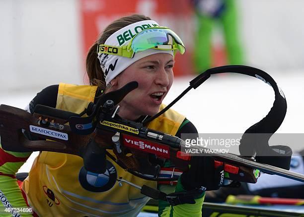 Belarus' Darya Domracheva prepares to shooting during the women's 125 km mass start event of the Biathlon Word Cup in the Siberian city of...