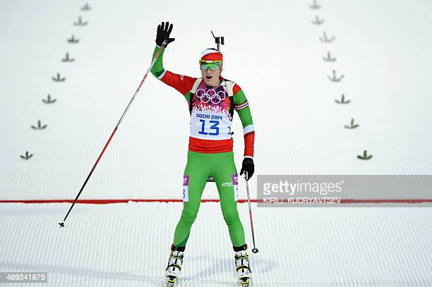 Belarus' Darya Domracheva skis across the finish line in the Women's Biathlon 15 km Individual at the Laura CrossCountry Ski and Biathlon Center...