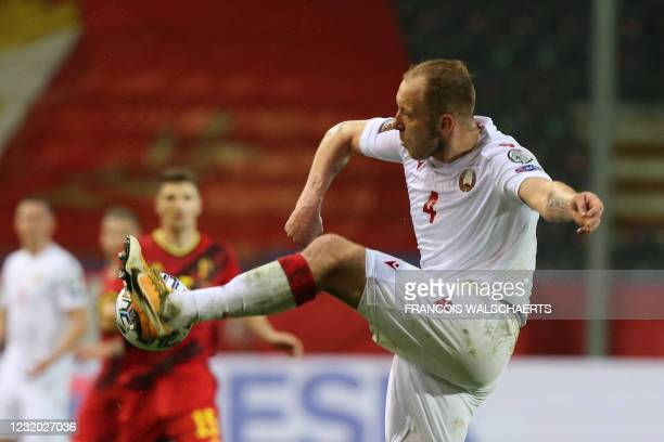 Belarus' defender Nikita Naumov controls the ball during the FIFA World Cup Qatar 2022 qualification Group E football match between Belgium and...