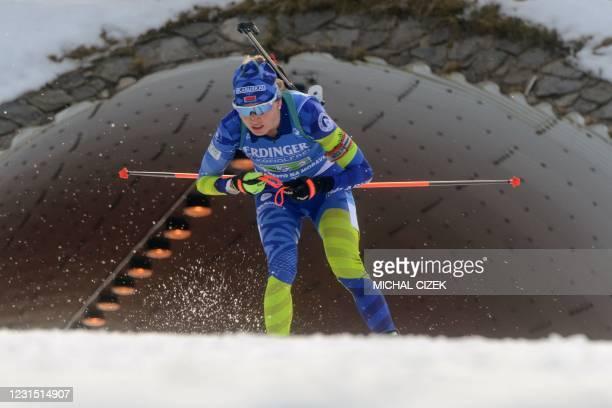 Belarus' Dzinara Alimbekava competes during the women's 4x6 km relay event of the IBU Biathlon World Cup in Nove Mesto na Morave, Czech Republic, on...