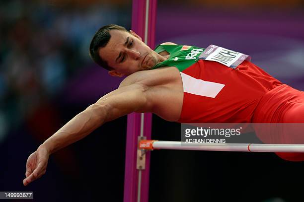 Belarus' Eduard Mikhan competes in the men's decathlon high jump qualifications at the athletics event of the London 2012 Olympic Games on August 8,...