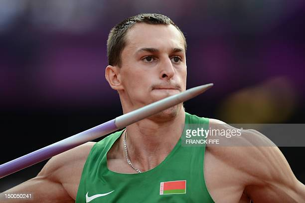 Belarus' Eduard Mikhan competes in the men's decathlon javelin throw at the athletics event during the London 2012 Olympic Games on August 9, 2012 in...
