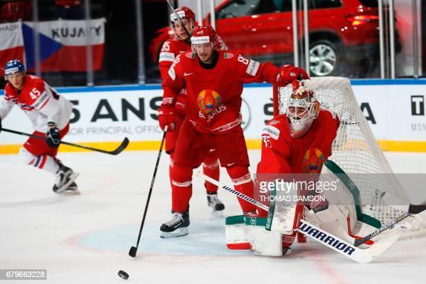 Belarus' goaltender Kevin Lalande stops the puck during the IIHF Men's World Championship group B ice hockey match between Belarus and Czech Republic...
