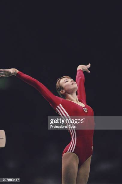 Belarus gymnast Svetlana Boginskaya competing for the Soviet Union pictured in action on the balance beam during competition to win the bronze medal...