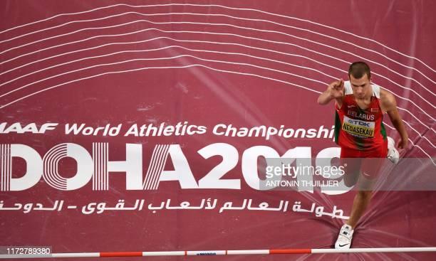 Belarus' Maksim Nedasekau competes in the Men's High Jump heats at the 2019 IAAF Athletics World Championships at the Khalifa International stadium...